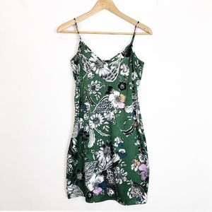 BEBE Emerald Green Floral Print Slip Style Dress